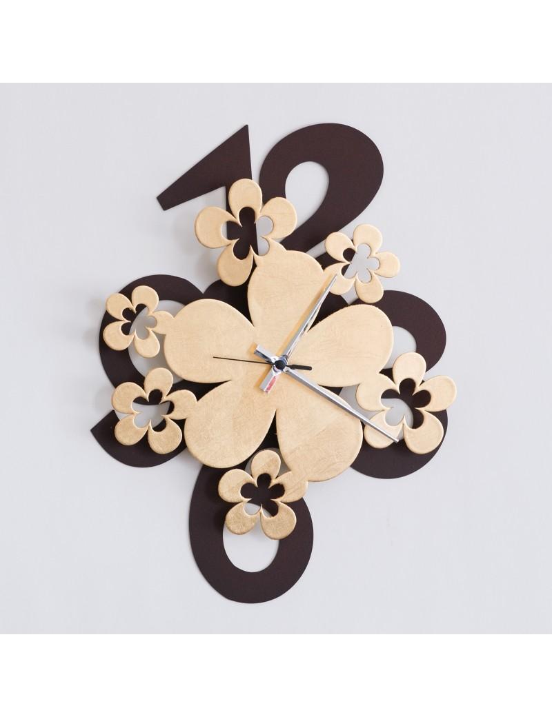 Margie orologio parete marrone oro fiori moderno design a m for Parete soggiorno marrone