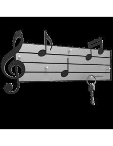 Tartini appendichiavi da parete magnetico musicale legno colore nero e grigio
