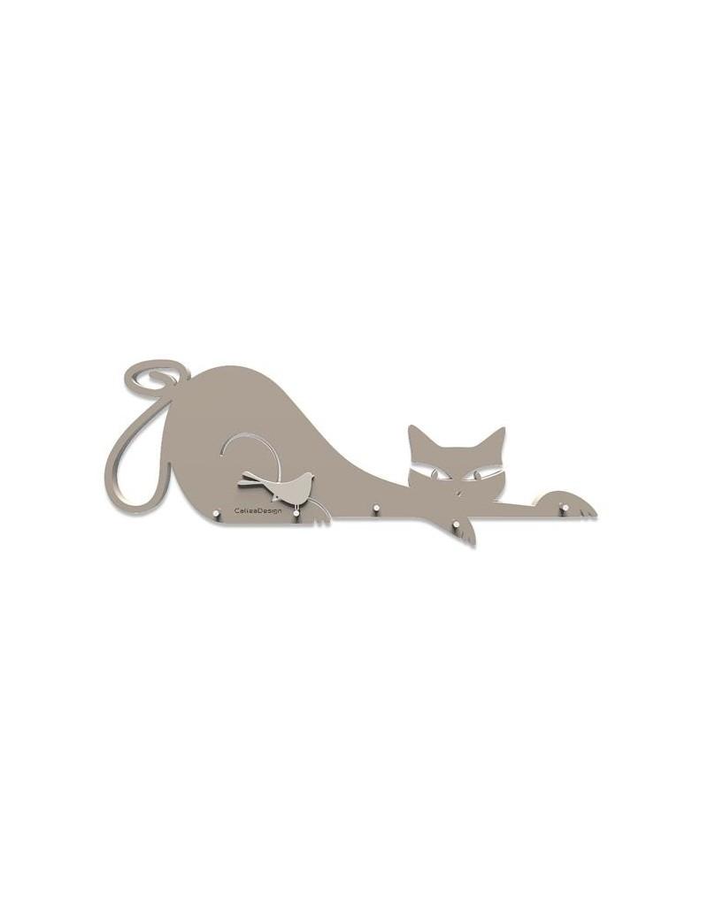 Portachiavi da parete forma di gatto magnetico legno colore tortora - Portachiavi da parete ...