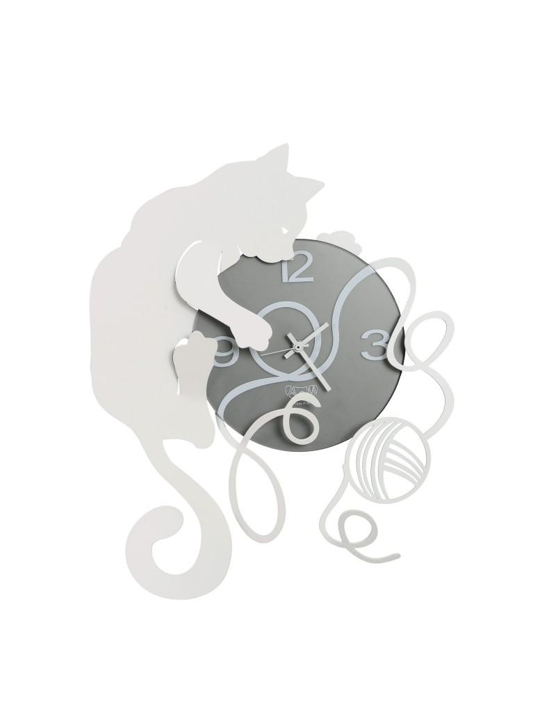 ARTI & MESTIERI: Gatto gomitolo orologio da parete bianco grigio in offerta