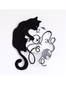 ARTI & MESTIERI: Orologio da parete design gatto gomitolo nero bianco in offerta