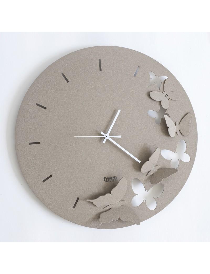 Butterfly spring beige orologio da parete moderno