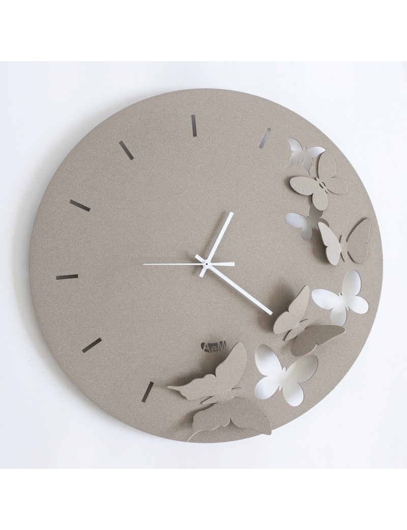 ButterFLY SPRING BEIGE Orologio da parete moderno DESIGN ARTI & MESTIERI