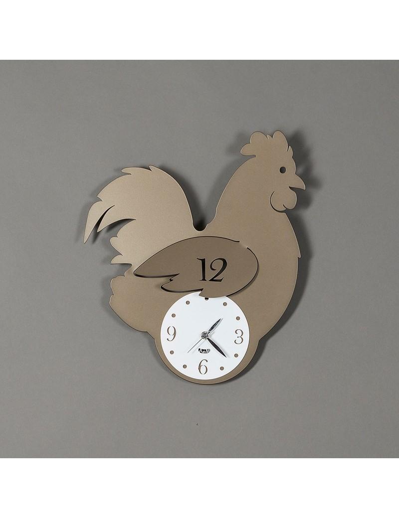 Gallina orologio da parete per cucina design chioccia metallo bronzo