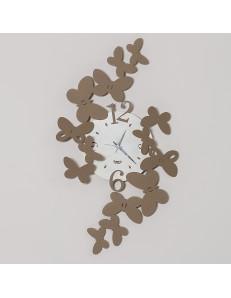 ARTI e MESTIERI: Papillon orologio da parete design farfalle metallo beige in offerta