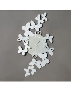 ARTI e MESTIERI: Papillon orologio da parete design farfalle metallo bianco in offerta