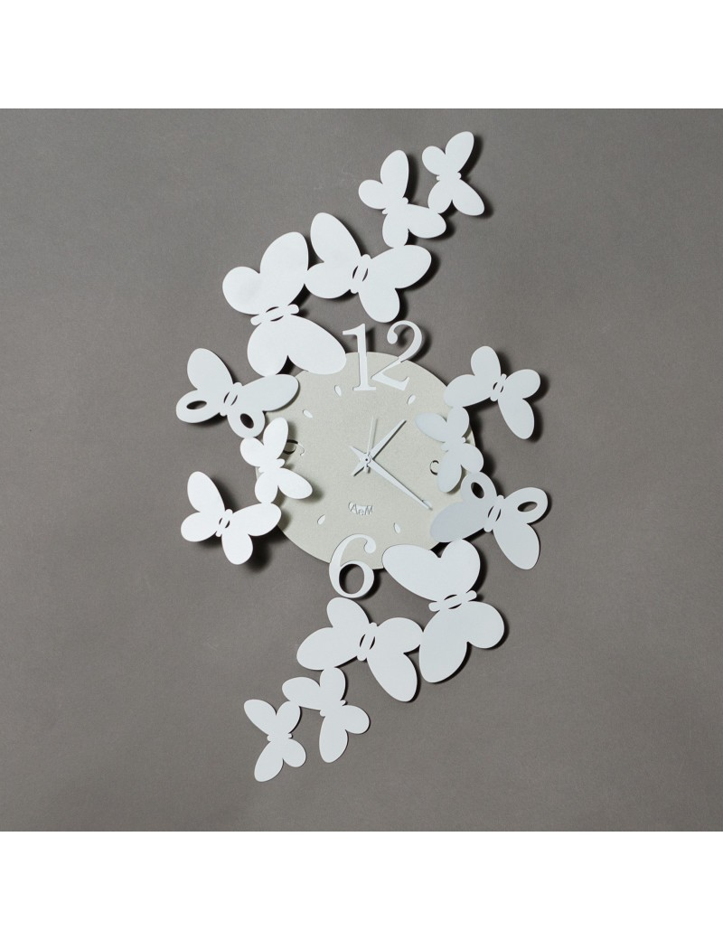 Orologio da parete papillon farfalle metallo design bianco a m for Orologio da muro farfalle