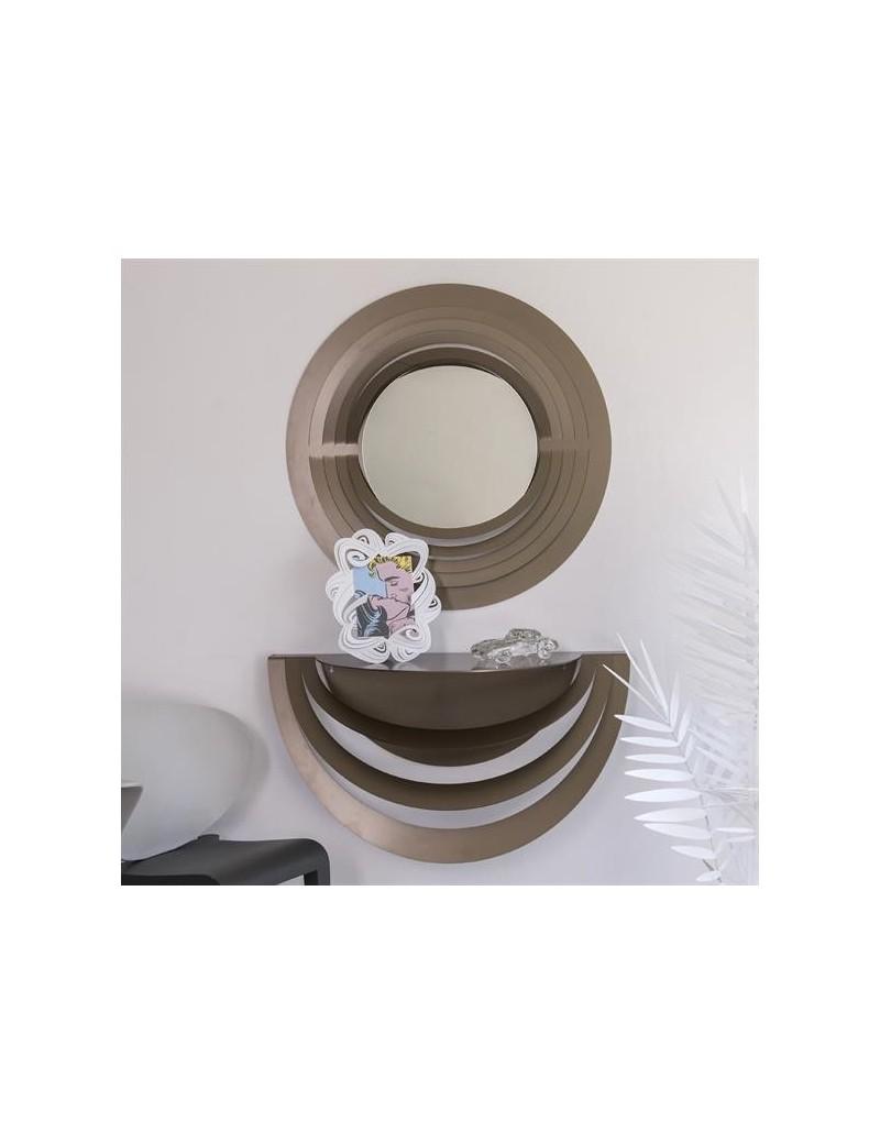 Consolle Ingresso Specchio.Optical Consolle E Specchio Da Ingresso Moderno Metallo Bronzo