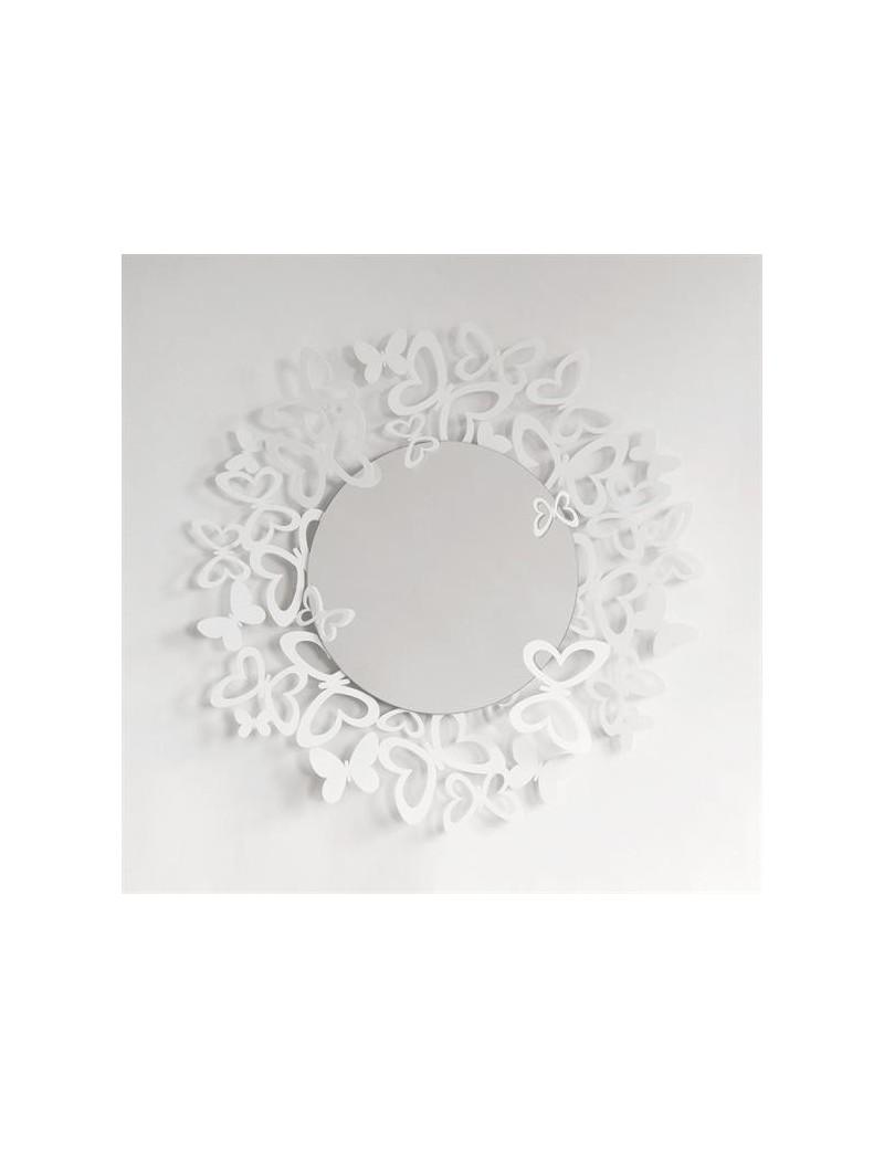 Butterfly specchio da parete design farfalle storm metallo bianco