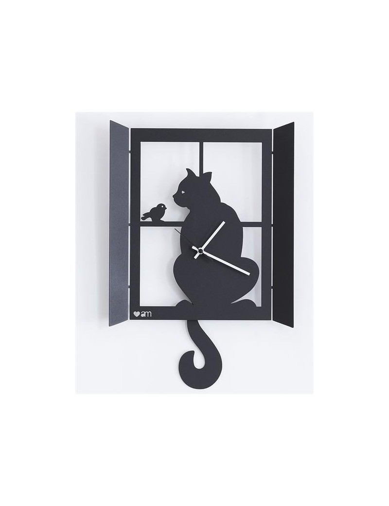 ARTI e MESTIERI: Gatto alla finestra orologio da parete nero con pendolo in offerta