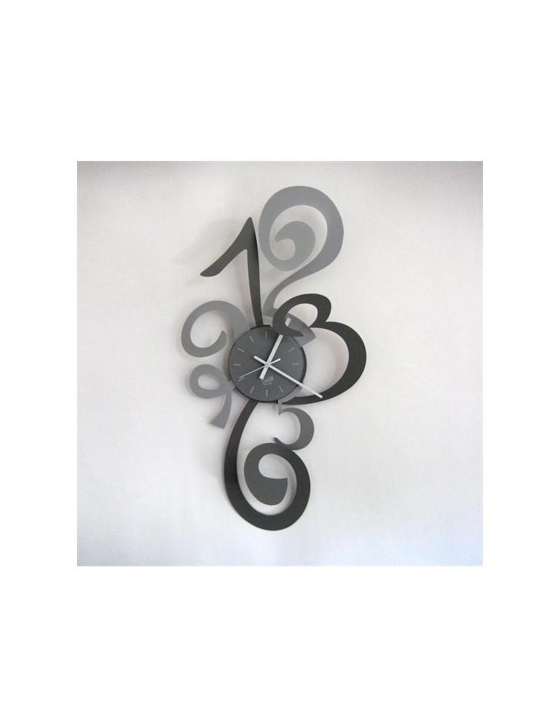 Truciolo grande orologio da parete moderno ardesia e alluminio