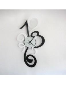 ARTI e MESTIERI: Truciolo orologio a parete moderno nero e bianco 40x80cm in offerta