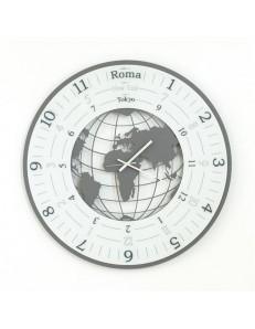 World orologio da parete design planisfero ardesia bianco 70cm