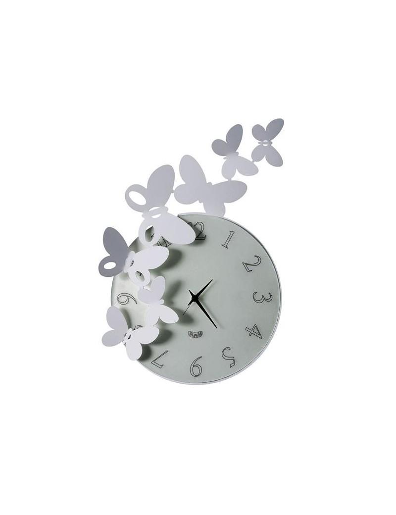 Arti e mestieri orologio moderno farfalle da parete alluminio for Orologio da muro farfalle