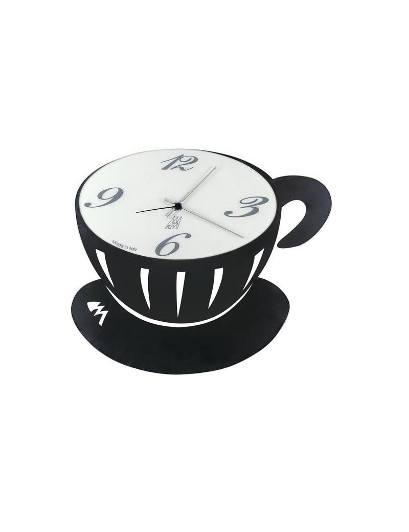 Pausa orologio da parete nero per cucina quadrante vetro
