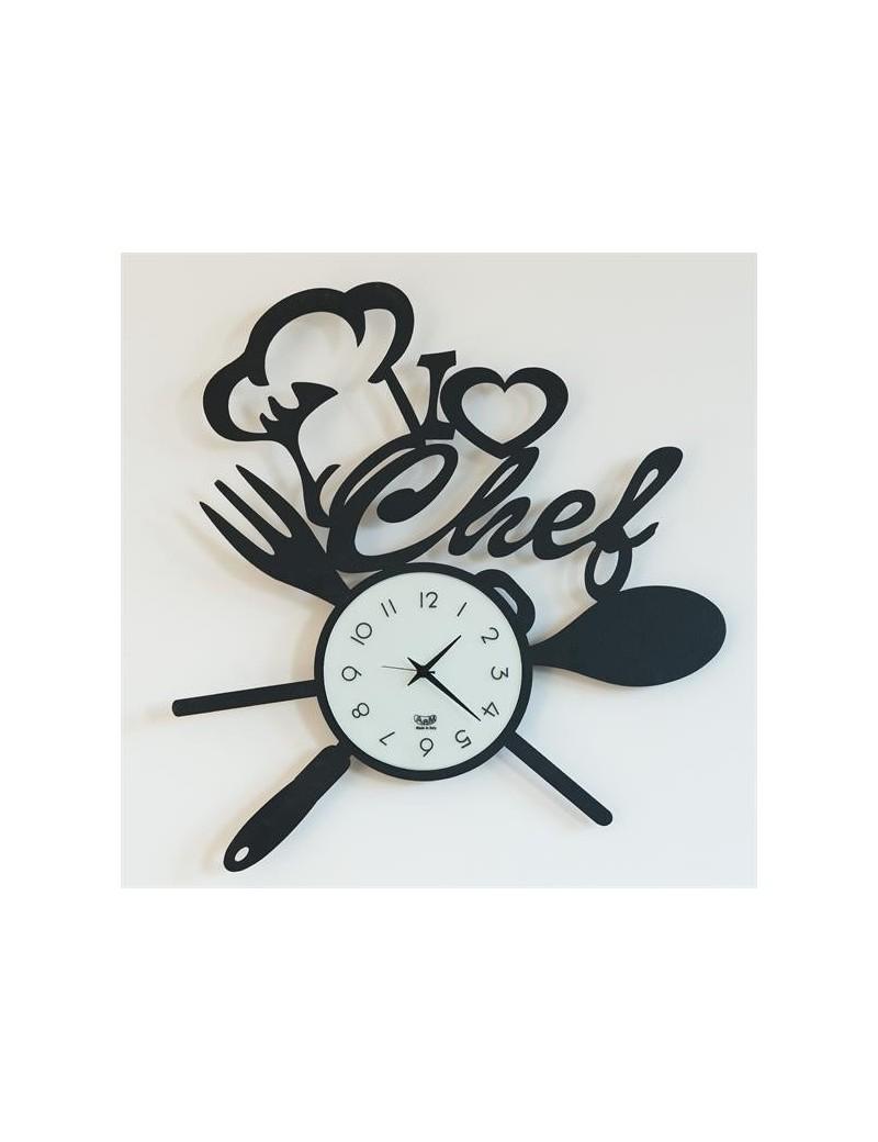 I love chef arti e mestieri orologio da parete nero da cucina 50cm