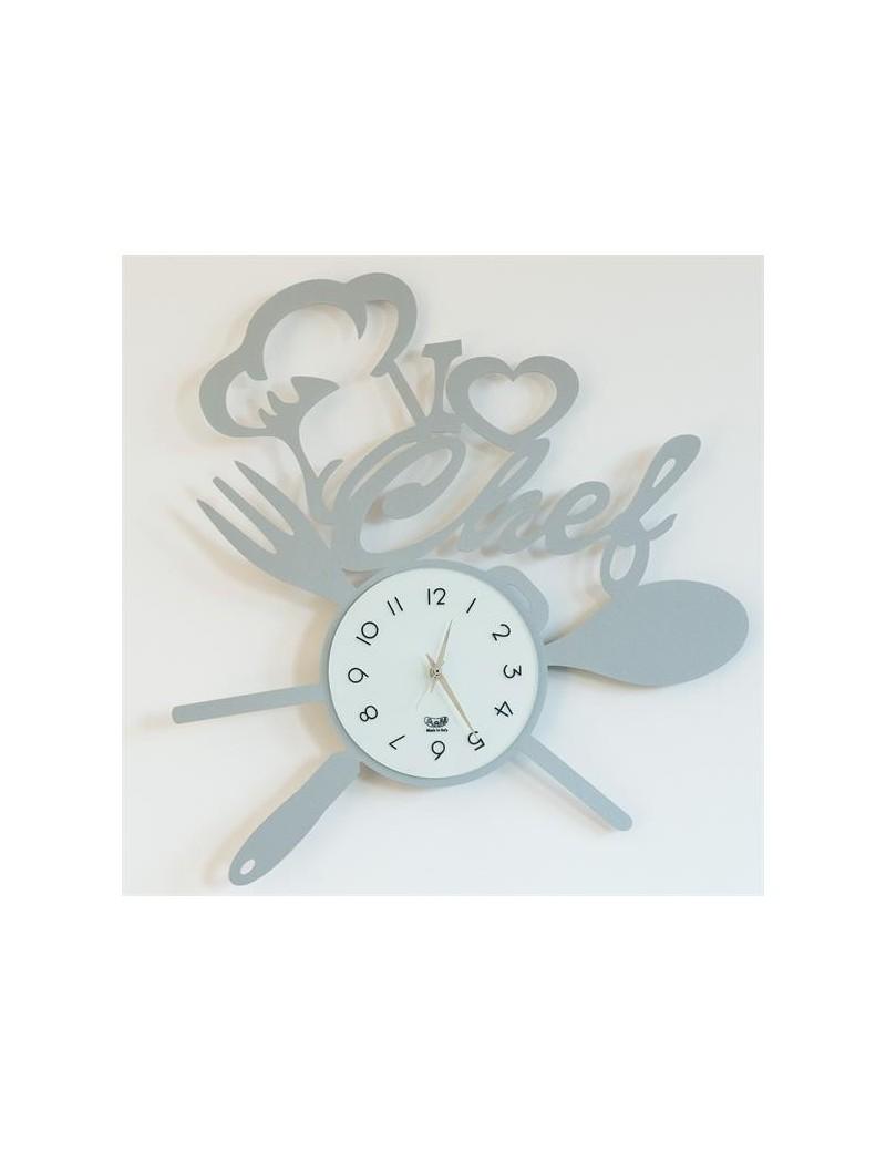 I love chef orologio da cucina colore alluminio 50cm
