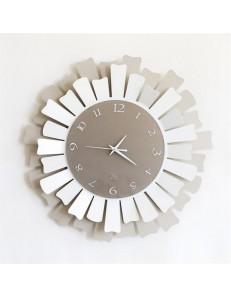 ARTI e MESTIERI: Lux orologio da parete moderno metallo nocciola bianco in offerta