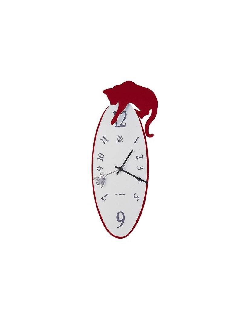 Arti E Mestieri Tommy Orologio Da Parete Gatto Rosso Quadrante Vetro