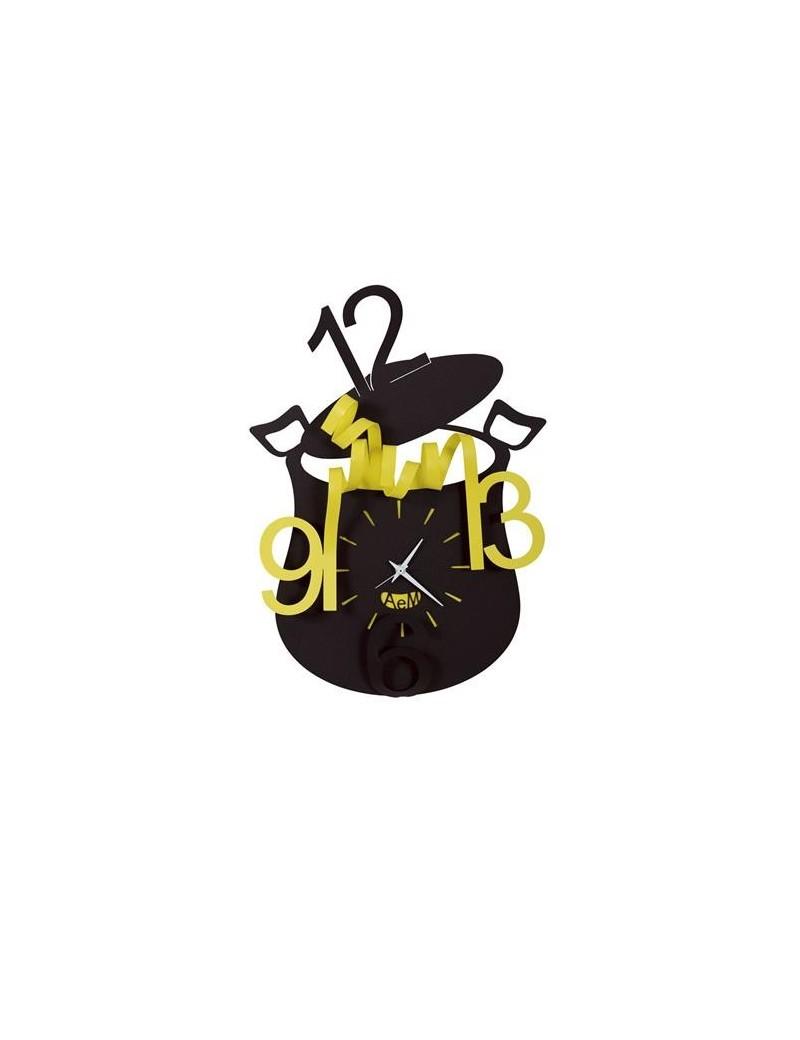 Chef orologio da parete cucina nero giallo 35cm