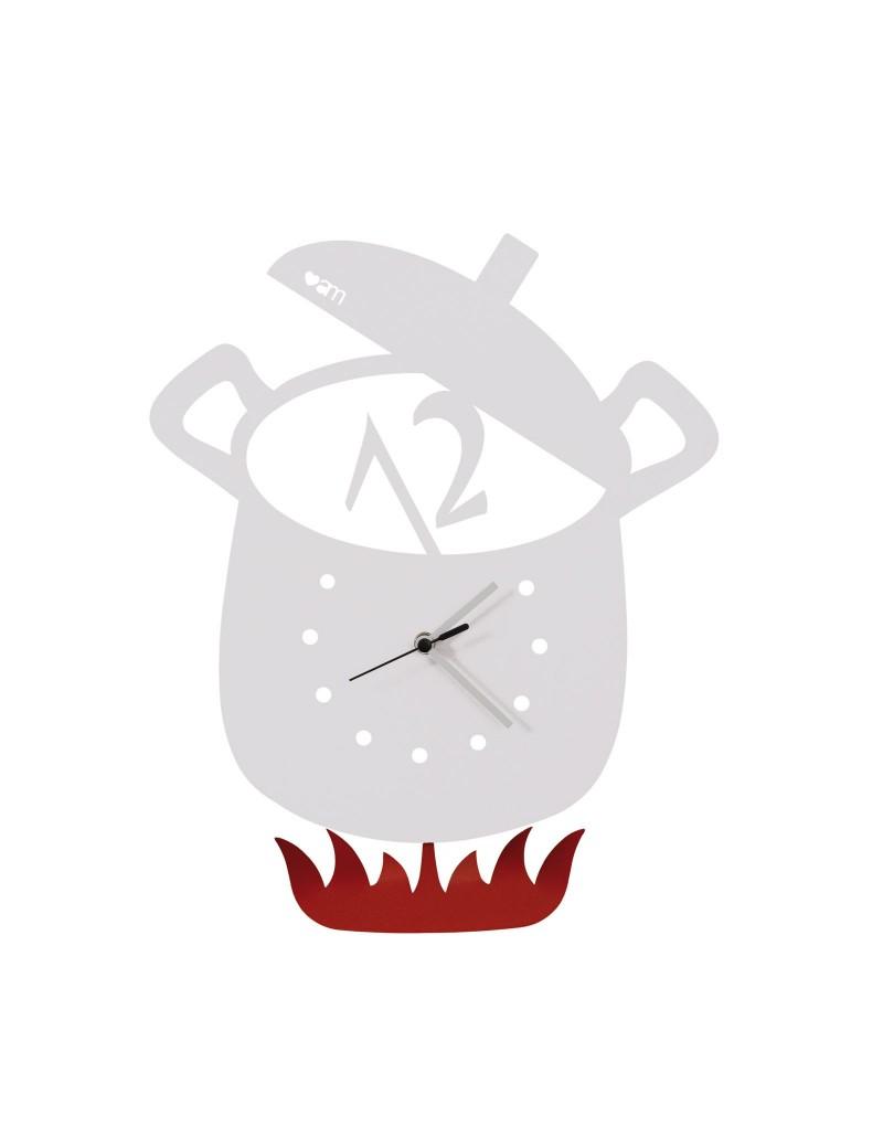 Orologio a pendolo da parete design pentola bianco per cucina