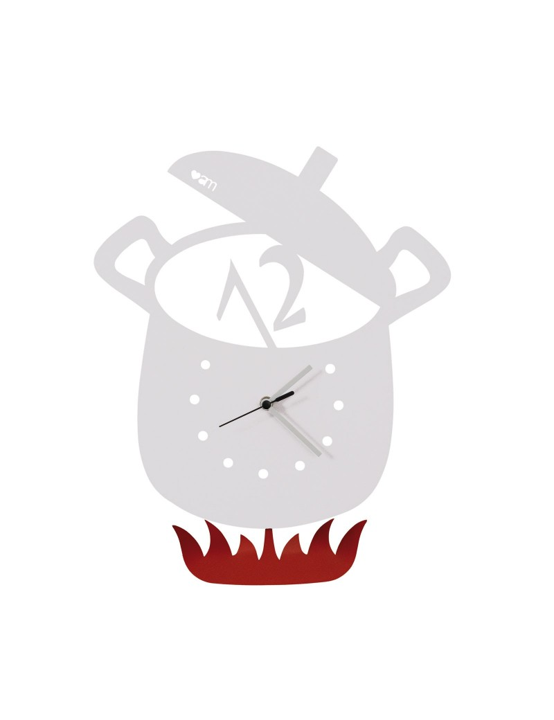ARTI & MESTIERI: Orologio a pendolo da parete design pentola bianco per cucina in offerta