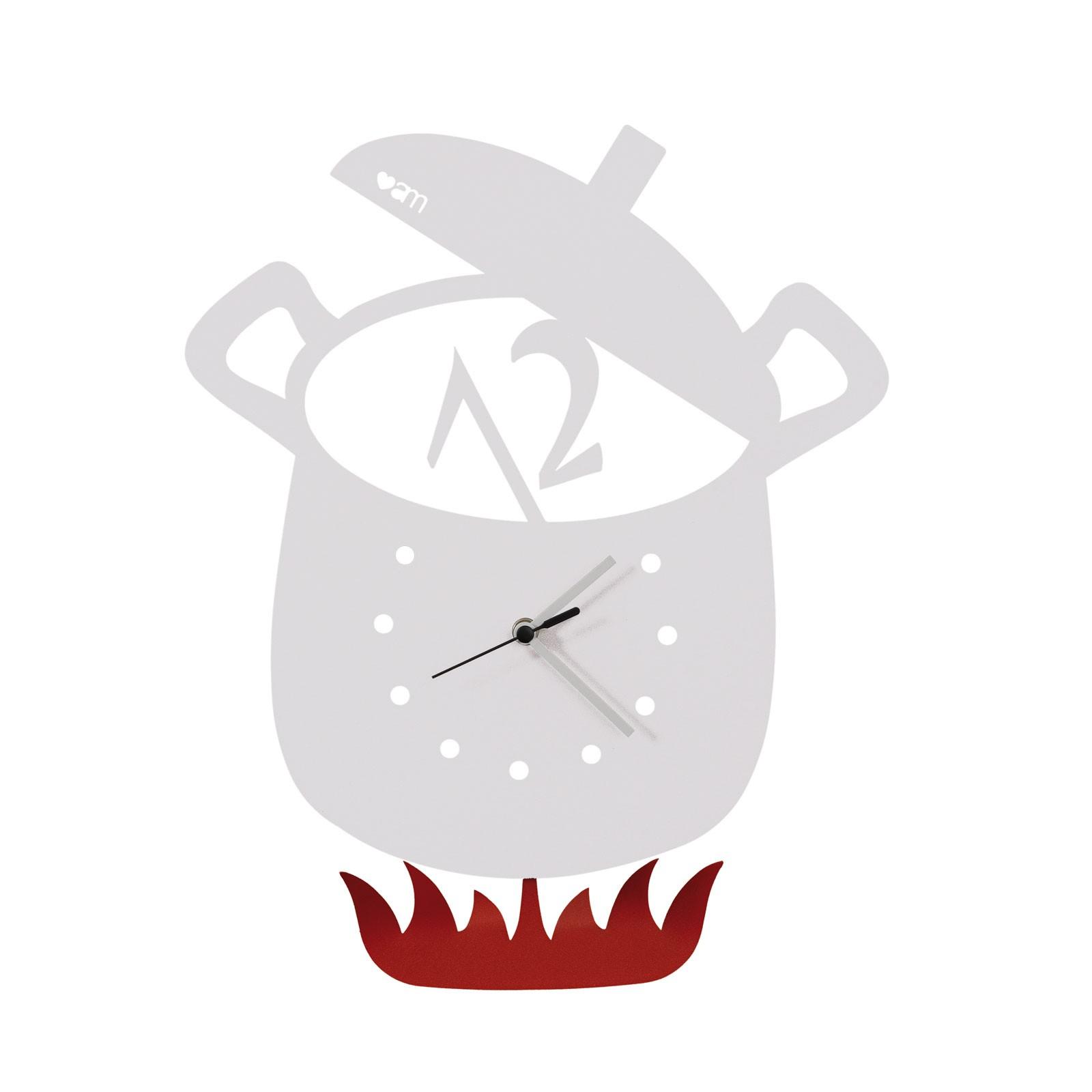 Orologio a pendolo da parete Pentola BIANCO MODERNO cucina DESIGN ...