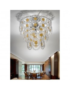 Plafoniera cristallo Mary Rose Diametro 55 cm oro Antea Luce