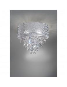 Plafoniera Violetta Diametro 75 pizzo grigio perla con cristalli Antea Luce