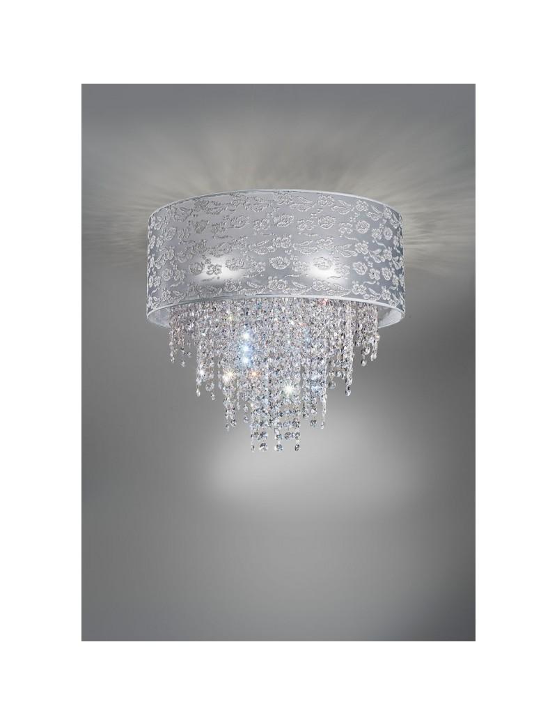 ANTEALUCE: Violetta plafoniera pizzo grigio perla con cristalli 75cm in offerta