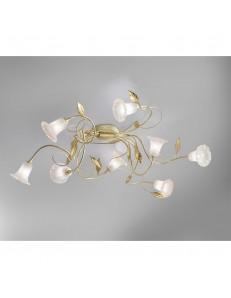 ANTEALUCE: Mimi' plafoniera 8 luci ferro battuto avorio oro in offerta