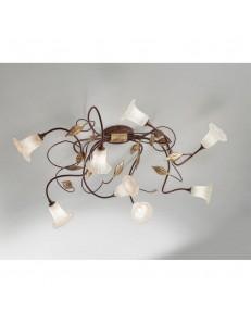 ANTEALUCE: Mimi' plafoniera 8 luci ferro battuto bruno anticato in offerta