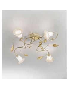 ANTEALUCE: Mimi' plafoniera 4 luci ferro battuto avorio oro in offerta