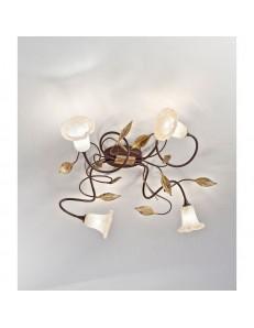 ANTEALUCE: Mimi' plafoniera 4 luci ferro battuto bruno anticato in offerta