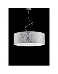 Fashion sospensione tessuto bianco arabescato argento 75cm in