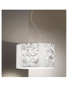 Sospensione Fashion Diametro 50 tessuto bianco arabescato argento Antea Luce