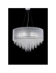 Sospensione Violetta Diametro 55 pizzo grigio perla con cristalli Antea Luce