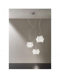 Sospensione Fold 3 luci vetro bianco Antea Luce