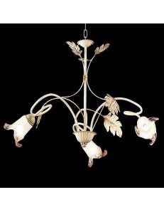 ONDALUCE: Lampadario 3 luci in rustico avorio in offerta