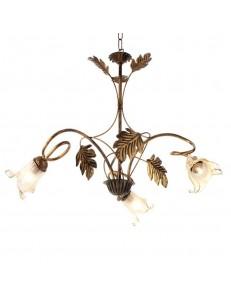 ONDALUCE: Lampadario 3 luci in rustico ruggine in offerta