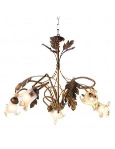 ONDALUCE: Lampadario 5 luci in rustico ruggine in offerta