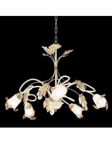 ONDALUCE: Lampadario 5 luci in rustico avorio in offerta