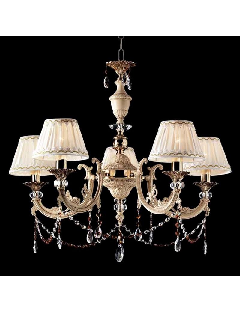 Lampadario classico 5 luci ottone avorio
