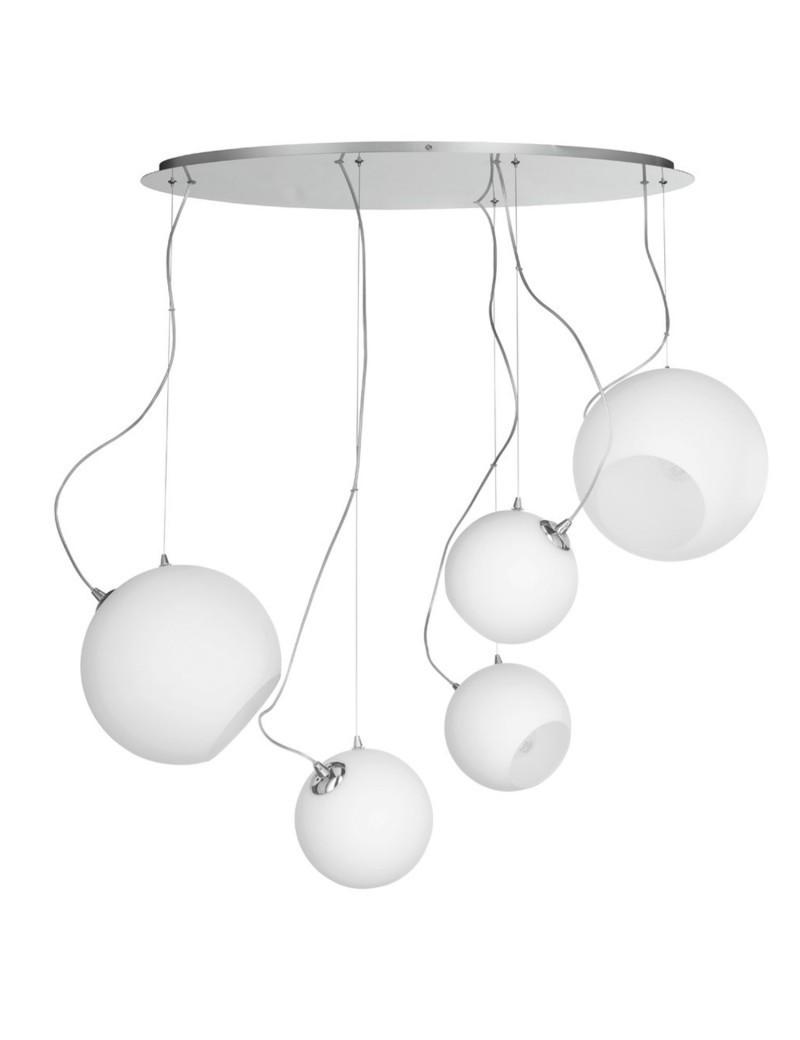 ONDALUCE: Lampara sospensione 5 luci vetro bianco in offerta