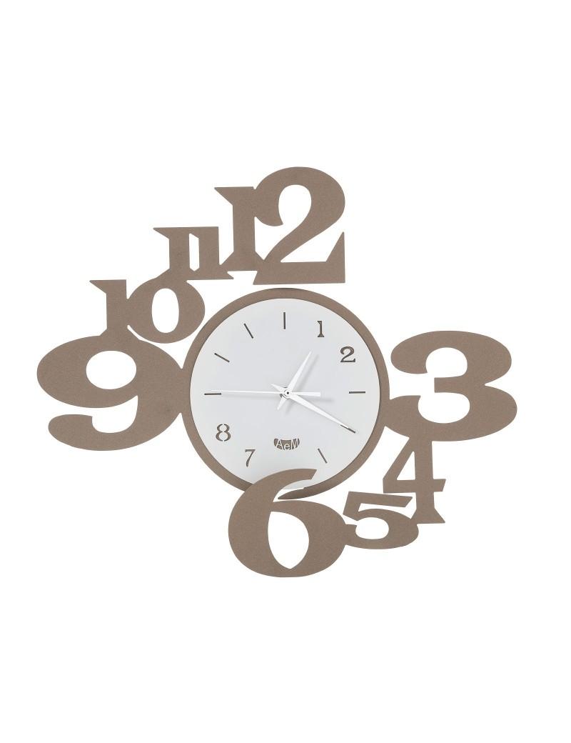 ARTI e MESTIERI: Chiasmo king orologio da parete moderno bianco beige 45x40cm in offerta