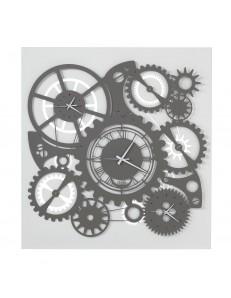 ARTI e MESTIERI: Ingranaggi meccano orologio a parete quadro 3 fusi ardesia bianco in offerta