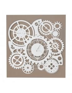 ARTI e MESTIERI: Ingranaggi meccano orologio a parete quadro 3 fusi beige bianco in offerta