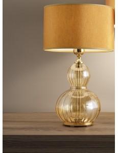 Lampada da tavolo olivia ambra oro paralume ocra Diametro 25 cm Antea Luce