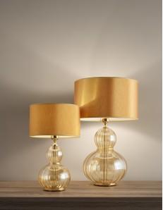Lampada da tavolo olivia ambra oro paralume ocra Diametro 35 cm Antea Luce