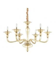 MR DESIGN: Lampadario contemporaneo 6 luci vetro soffiato ambra in offerta